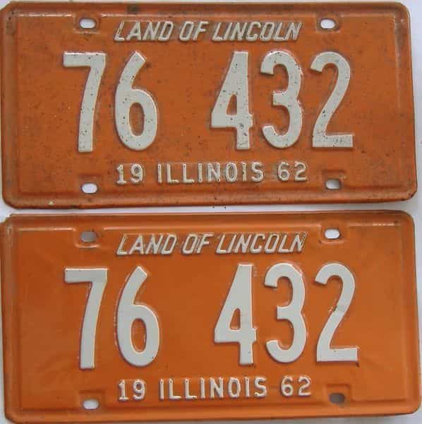1962 Illinois (Pair) license plate for sale