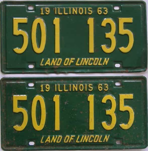1963 IL (Pair) license plate for sale