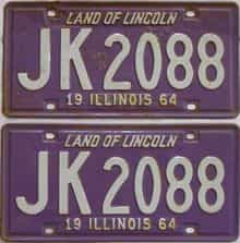 1964 Illinois (Pair) license plate for sale