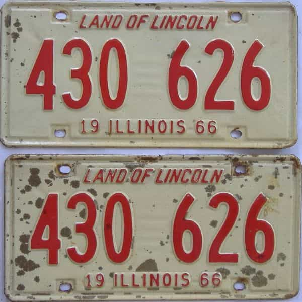 1966 Illinois (Pair) license plate for sale