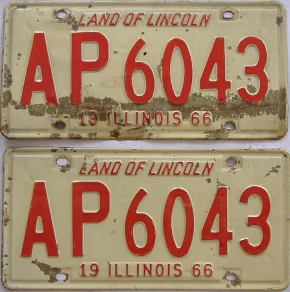 1966 IL (Pair) license plate for sale