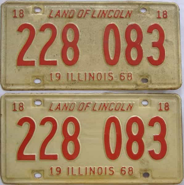 1968 Illinois  (Pair) license plate for sale
