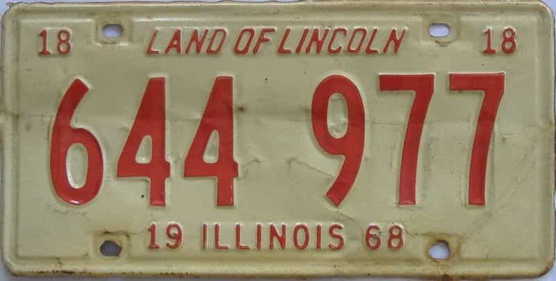 1968 Illinois (Single) license plate for sale