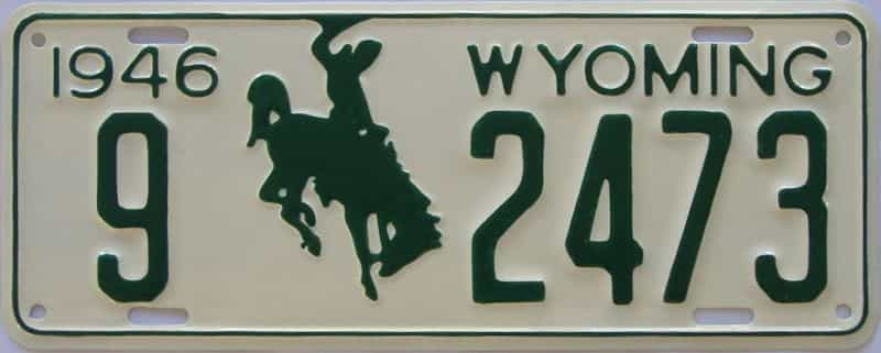 RESTORED 1946 WY license plate for sale