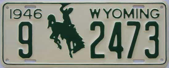 RESTORED 1946 Wyoming license plate for sale