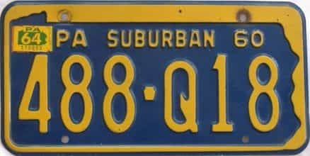 1964 Pennsylvania license plate for sale