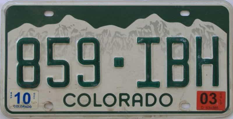 2003 Colorado (Single) license plate for sale