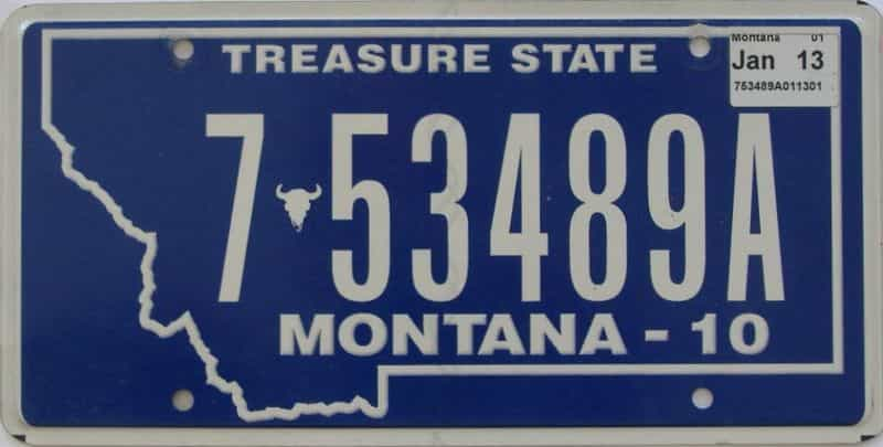2013 Montana (Single) license plate for sale