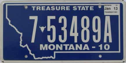 2013 Montana (Single) license plate for sale