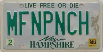 2013 New Hampshire (Vanity) license plate for sale