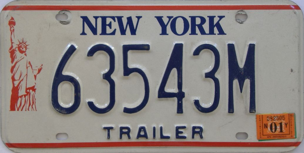 2001 New York (Trailer) license plate for sale