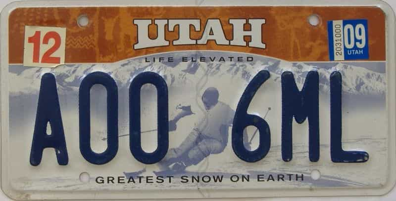 2009 UT (Single) license plate for sale