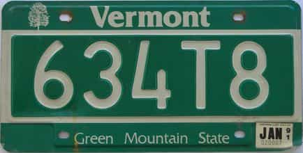 1991 Vermont (Single) license plate for sale