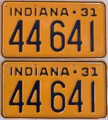 RESTORED 1931 Indiana (Pair) license plate for sale