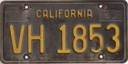YOM 1963 California  (Trailer) license plate for sale