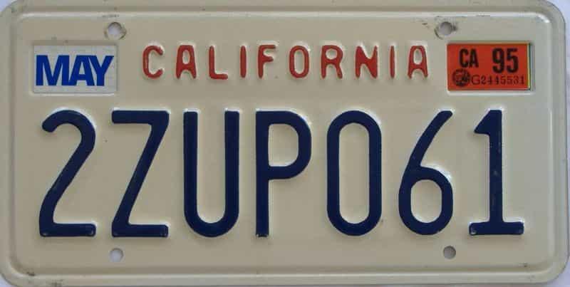 1995 California (Single) license plate for sale