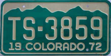 1972 Colorado (Single) license plate for sale