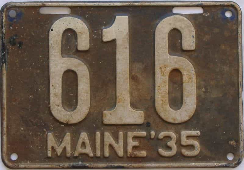1935 ME (Single) license plate for sale