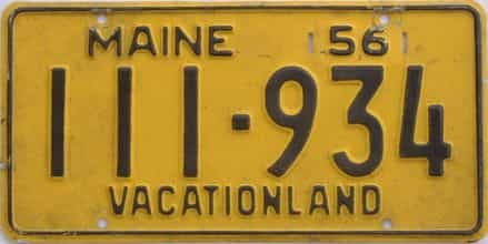 1956 Maine (Single) license plate for sale