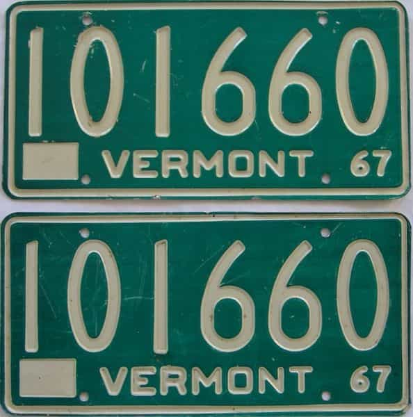 1967 Vermont (Pair) license plate for sale
