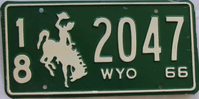 1966 WY (Single) license plate for sale