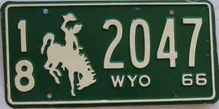 1966 Wyoming (Single) license plate for sale