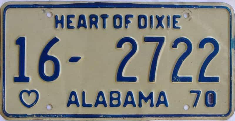 1970 Alabama license plate for sale