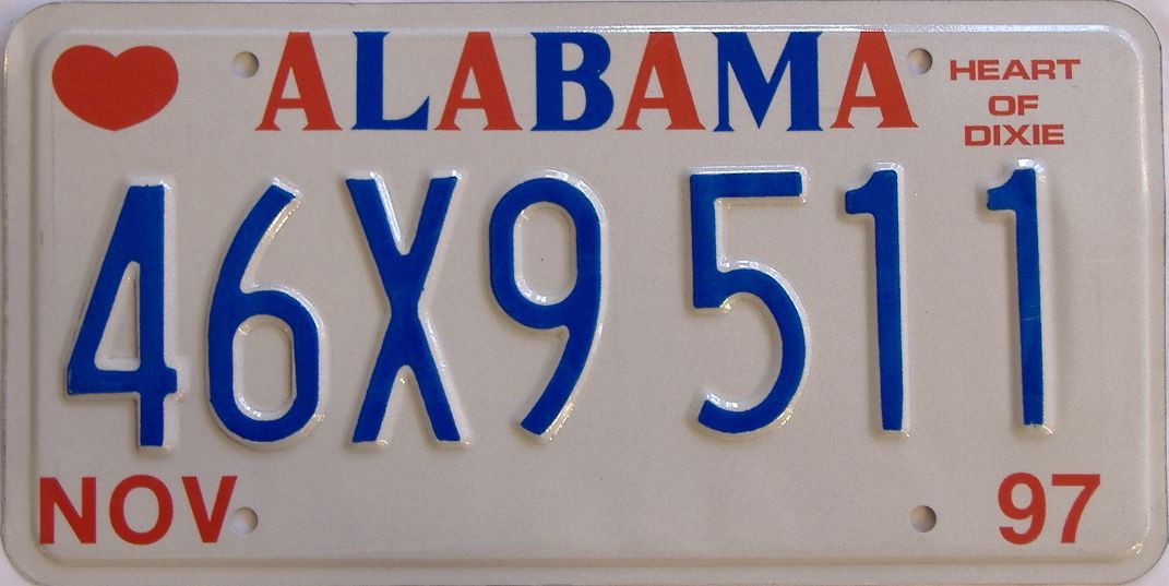 1997 Alabama license plate for sale