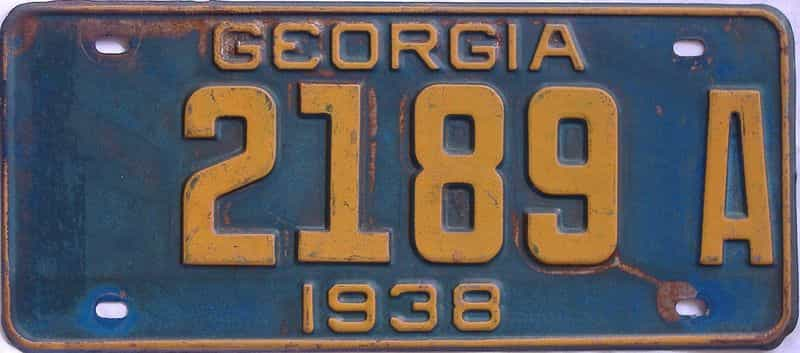 YOM 1938 GA (Single) license plate for sale