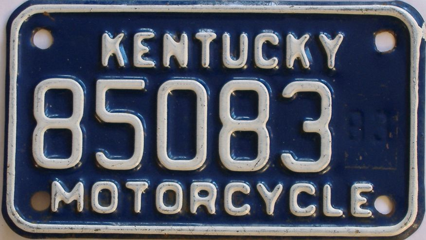 1983 Kentucky (Motorcycle) license plate for sale