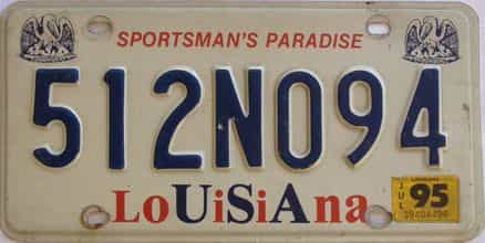 1995 Louisiana license plate for sale