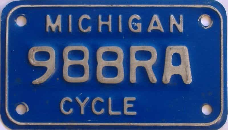1984 MI (Motorcycle) license plate for sale