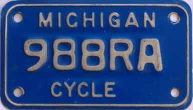 1984 Michigan (Motorcycle) license plate for sale