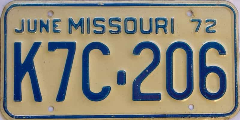 1972 MO (Single) license plate for sale