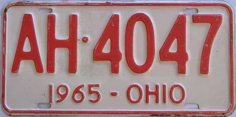 1965 OH (Single) license plate for sale