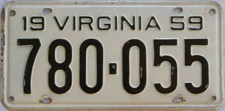1959 Virginia (Single) license plate for sale