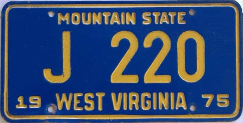 1975 West Virginia  (Non Passenger) license plate for sale