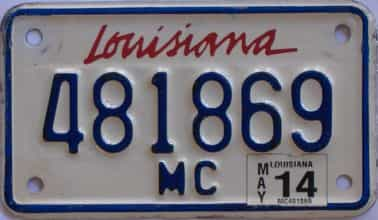 2014 Louisiana (Motorcycle) license plate for sale