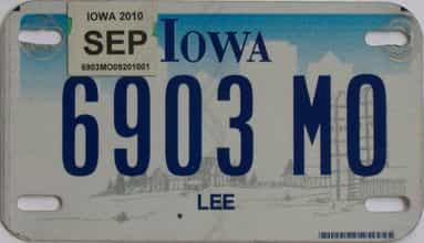 2010 Iowa (Motorcycle) license plate for sale