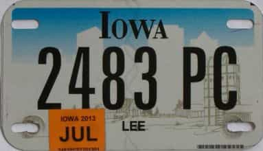 2013 Iowa (Motorcycle) license plate for sale