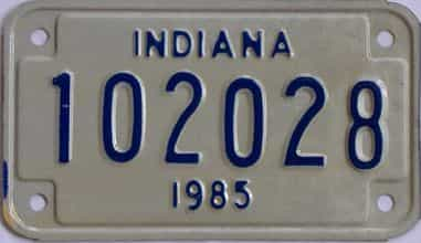 1985 Indiana (Motorcycle) license plate for sale