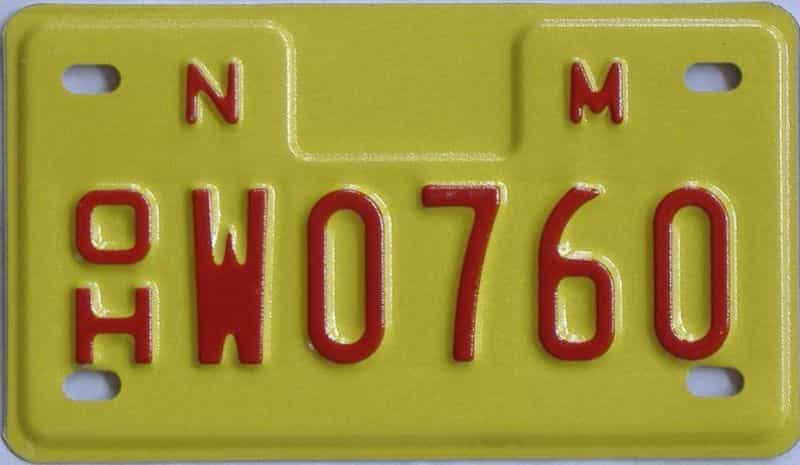 1993 NM (Motorcycle) license plate for sale