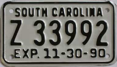 1990 South Carolina  (Motorcycle) license plate for sale