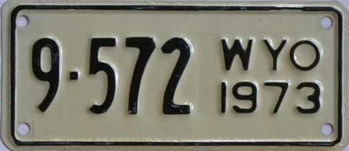 1973 Wyoming (Motorcycle) license plate for sale