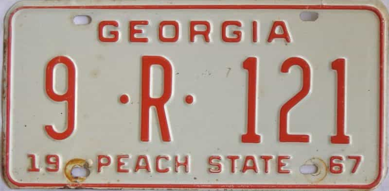 YOM 1967 GA (Truck) license plate for sale
