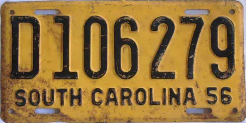 1956 South Carolina  (Single) license plate for sale
