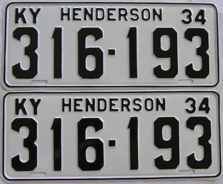 RESTORED 1934 KY (Pair) license plate for sale