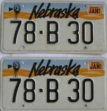 1993 Nebraska (Pair) license plate for sale
