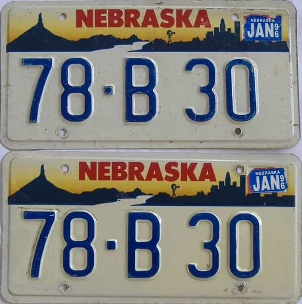 1996 NE (Pair) license plate for sale