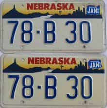 1996 Nebraska (Pair) license plate for sale